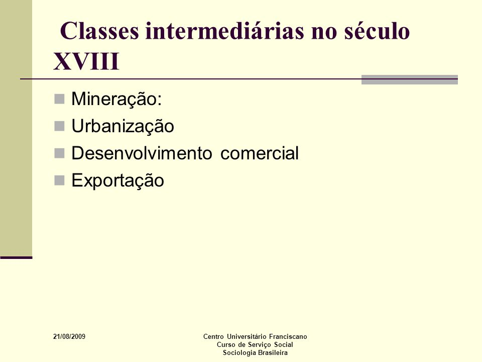 Classes intermediárias no século XVIII