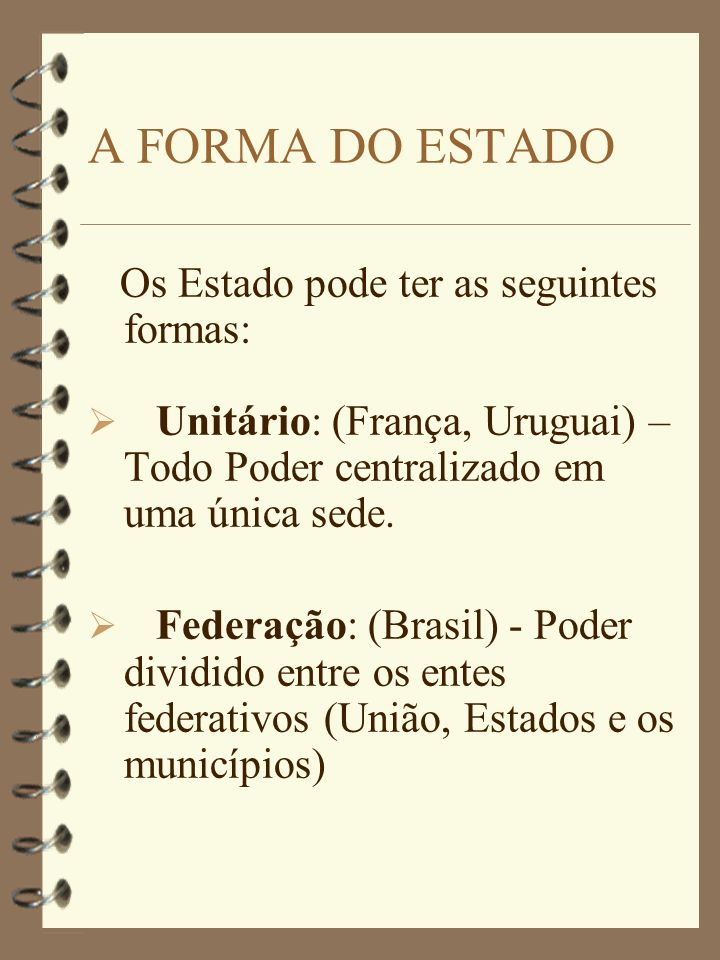 A FORMA DO ESTADO Os Estado pode ter as seguintes formas: