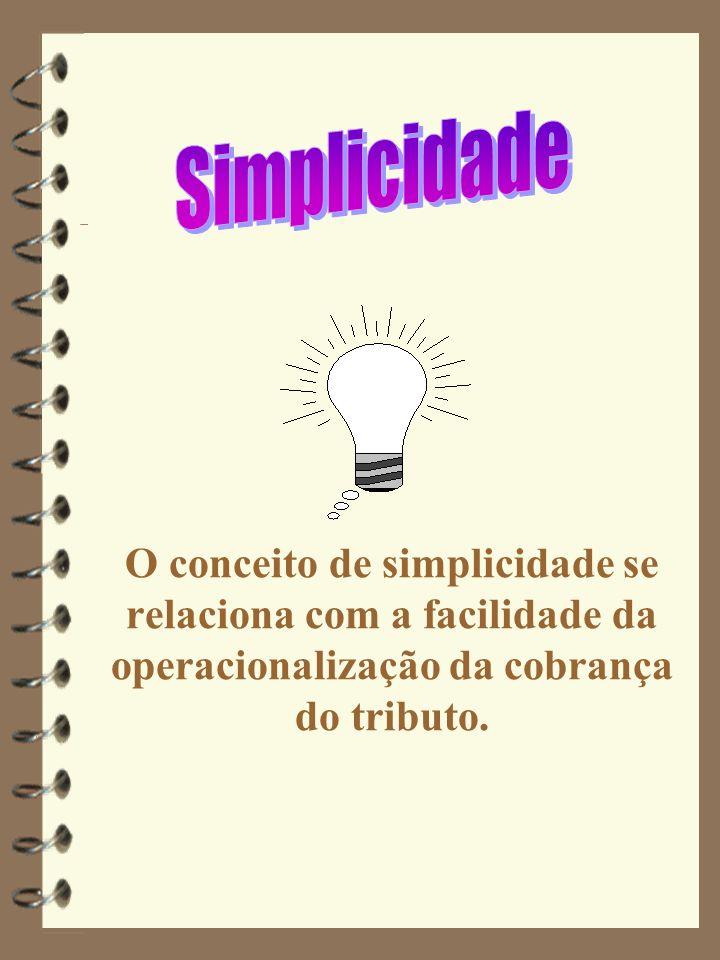 O conceito de simplicidade se relaciona com a facilidade da operacionalização da cobrança do tributo.