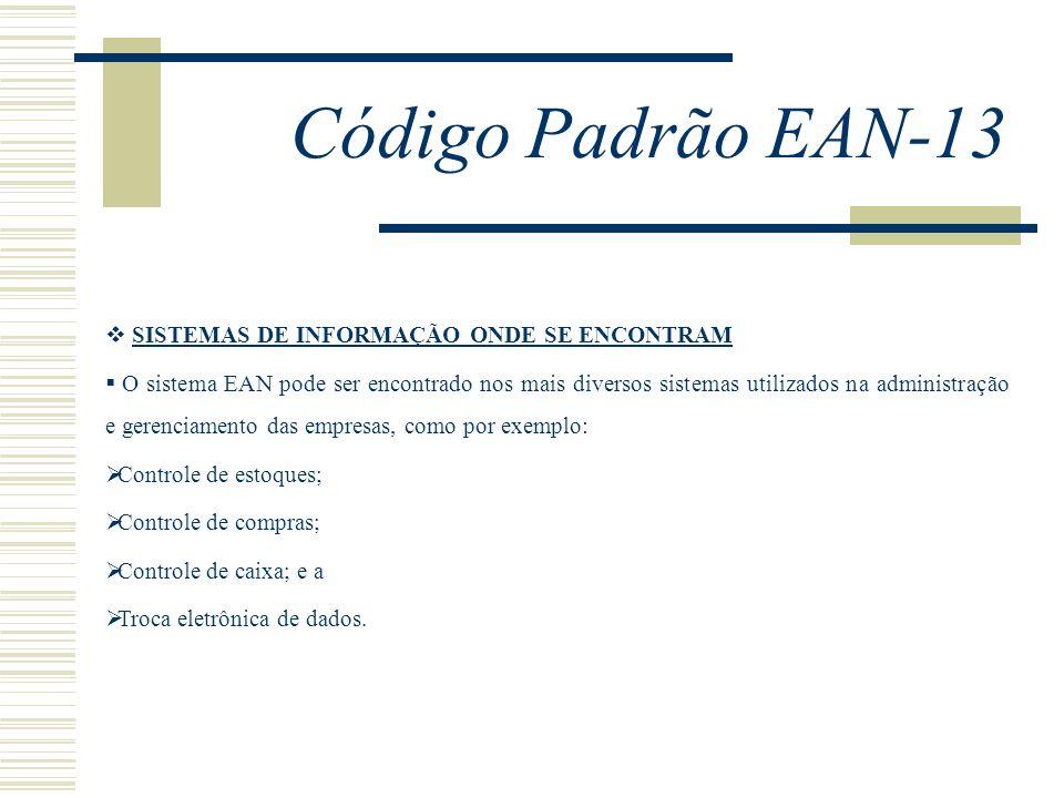 Código Padrão EAN-13 SISTEMAS DE INFORMAÇÃO ONDE SE ENCONTRAM