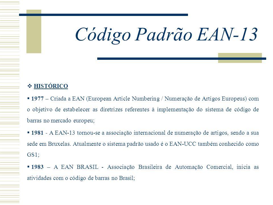Código Padrão EAN-13 HISTÓRICO