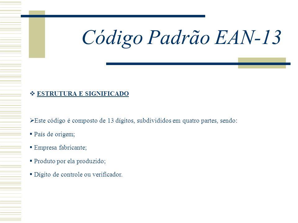 Código Padrão EAN-13 ESTRUTURA E SIGNIFICADO