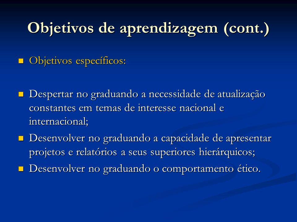 Objetivos de aprendizagem (cont.)