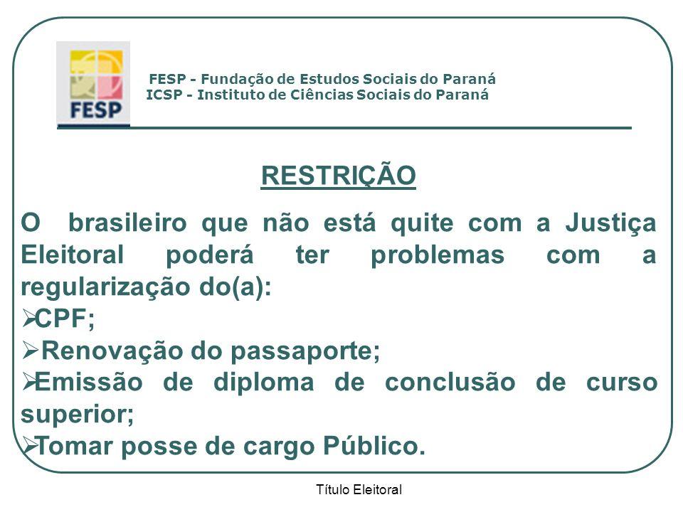 Renovação do passaporte;