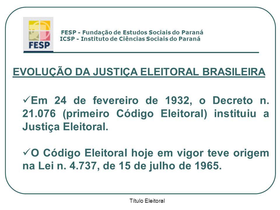 EVOLUÇÃO DA JUSTIÇA ELEITORAL BRASILEIRA