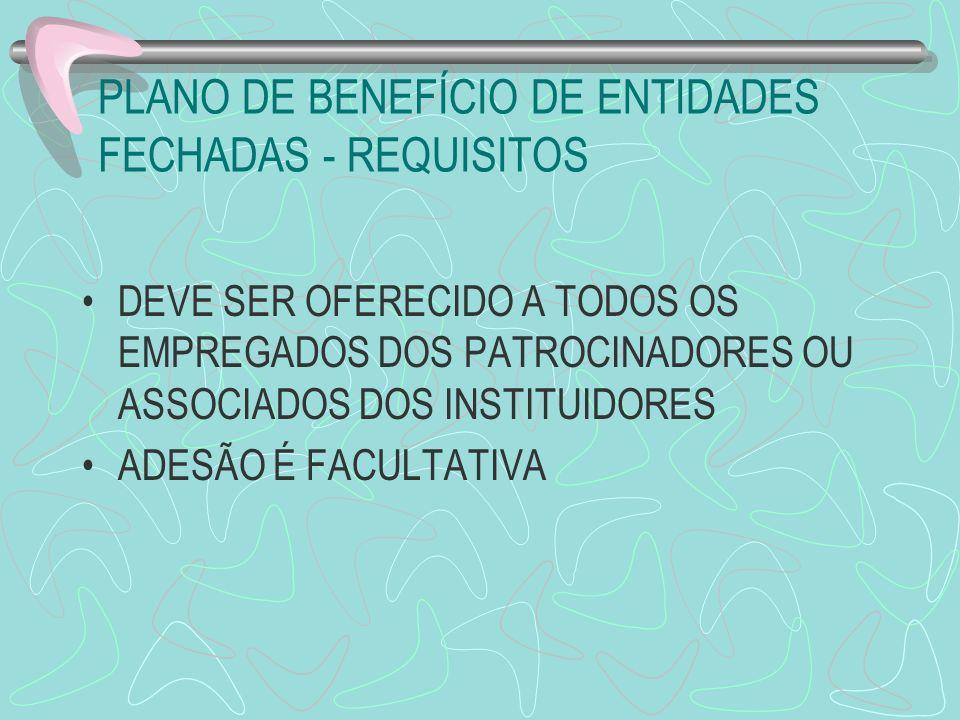 PLANO DE BENEFÍCIO DE ENTIDADES FECHADAS - REQUISITOS