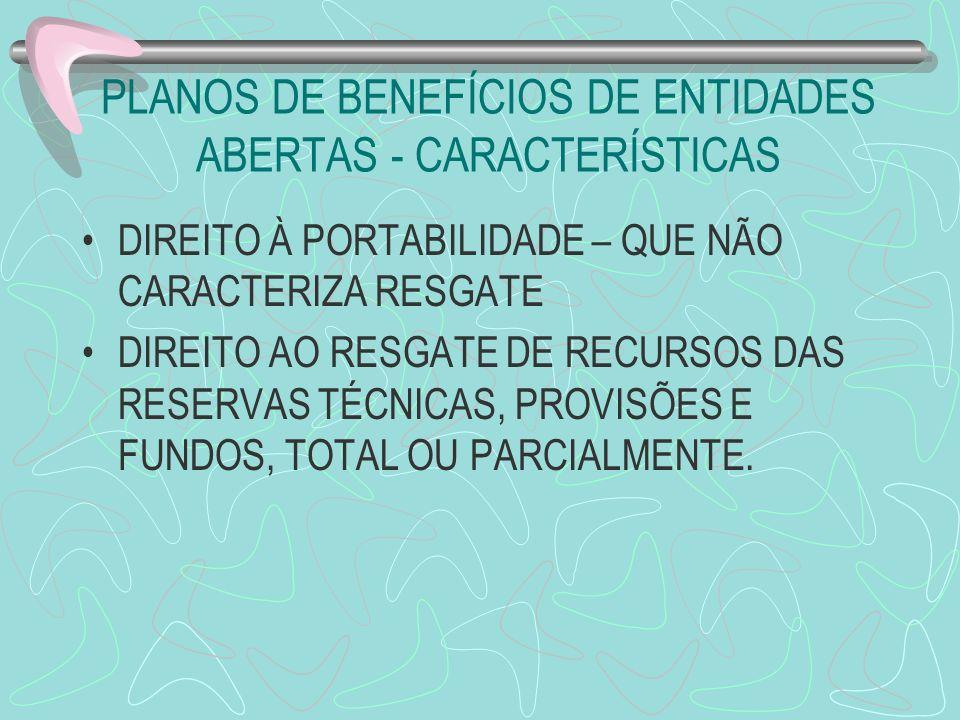 PLANOS DE BENEFÍCIOS DE ENTIDADES ABERTAS - CARACTERÍSTICAS