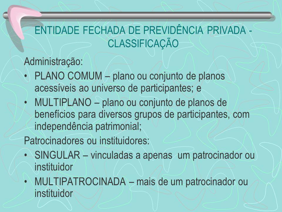 ENTIDADE FECHADA DE PREVIDÊNCIA PRIVADA - CLASSIFICAÇÃO