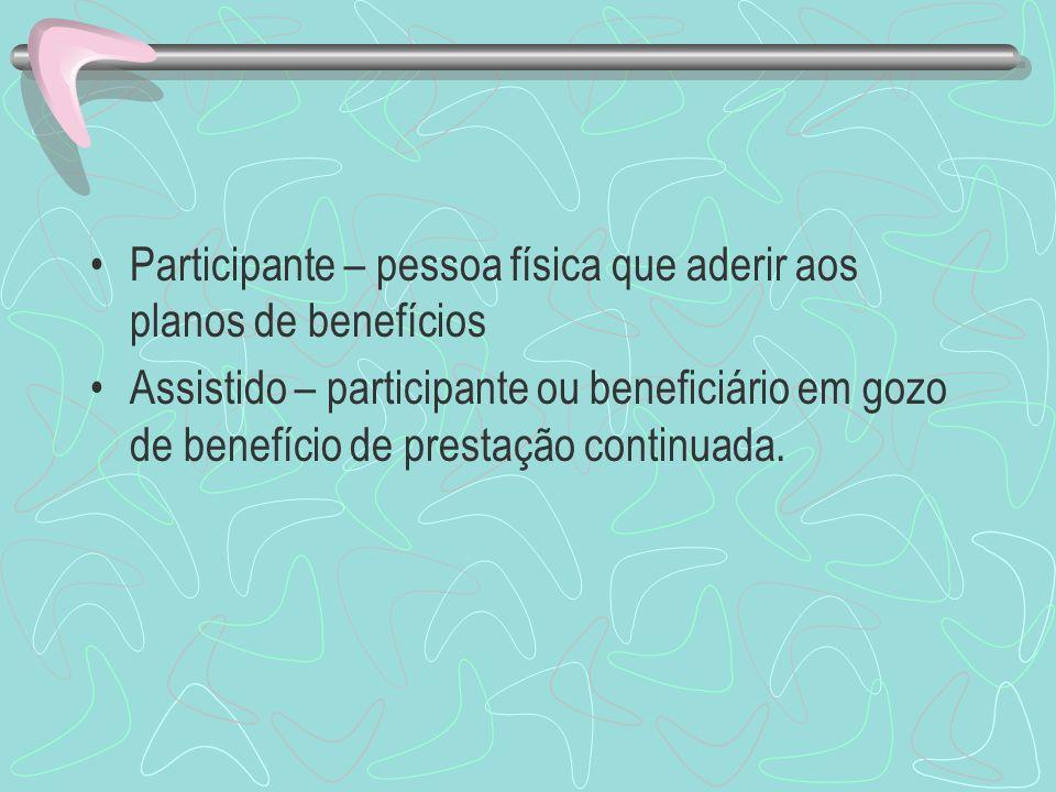 Participante – pessoa física que aderir aos planos de benefícios