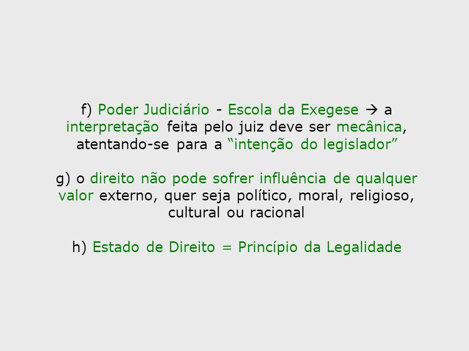 f) Poder Judiciário - Escola da Exegese  a interpretação feita pelo juiz deve ser mecânica, atentando-se para a intenção do legislador g) o direito não pode sofrer influência de qualquer valor externo, quer seja político, moral, religioso, cultural ou racional h) Estado de Direito = Princípio da Legalidade