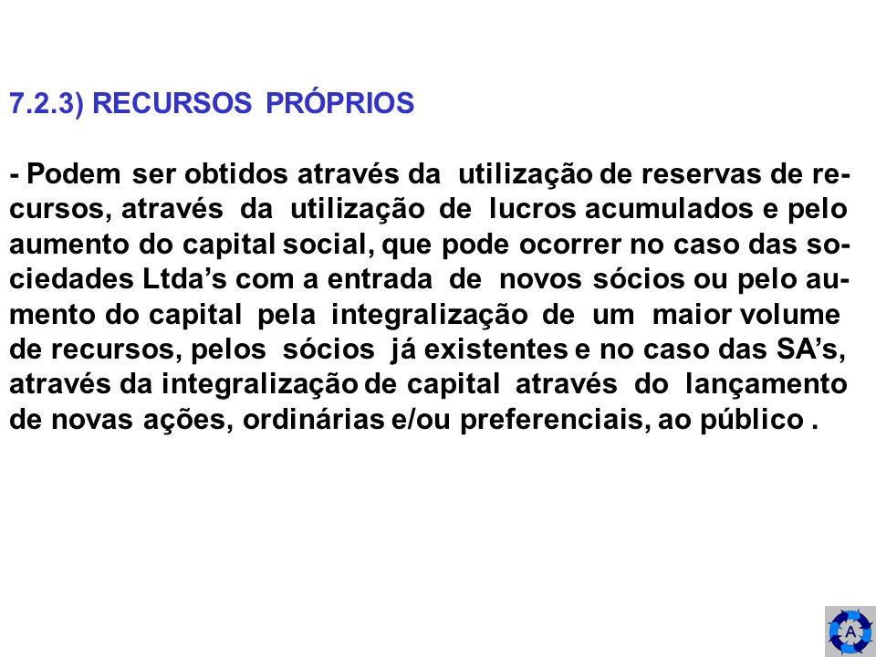 7.2.3) RECURSOS PRÓPRIOS - Podem ser obtidos através da utilização de reservas de re- cursos, através da utilização de lucros acumulados e pelo.