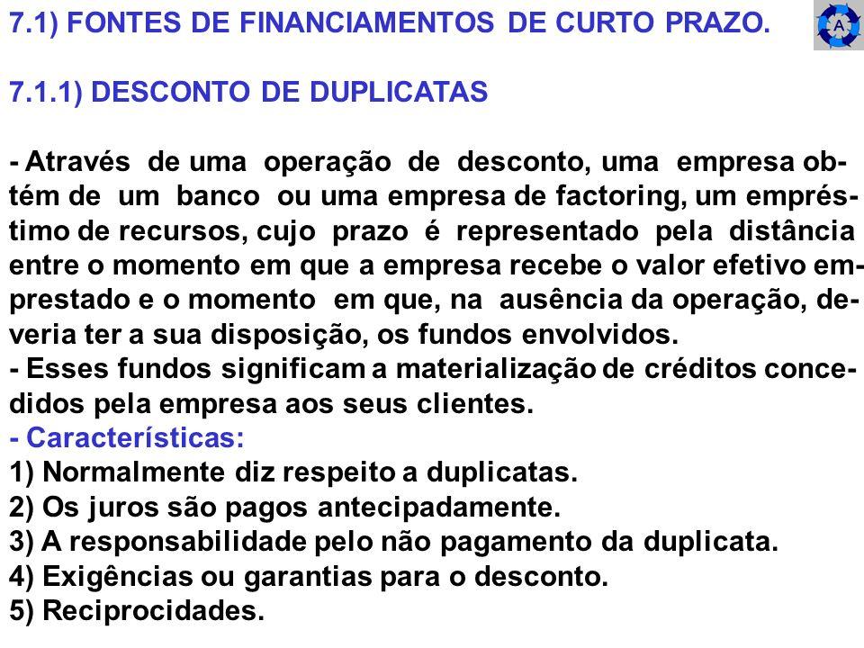 7.1) FONTES DE FINANCIAMENTOS DE CURTO PRAZO.
