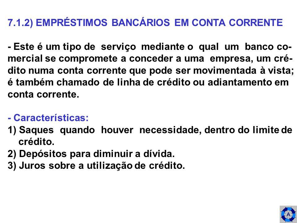 7.1.2) EMPRÉSTIMOS BANCÁRIOS EM CONTA CORRENTE