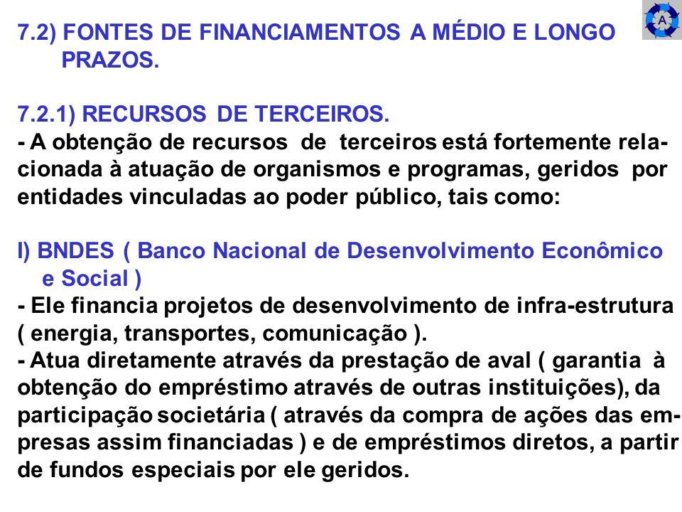7.2) FONTES DE FINANCIAMENTOS A MÉDIO E LONGO