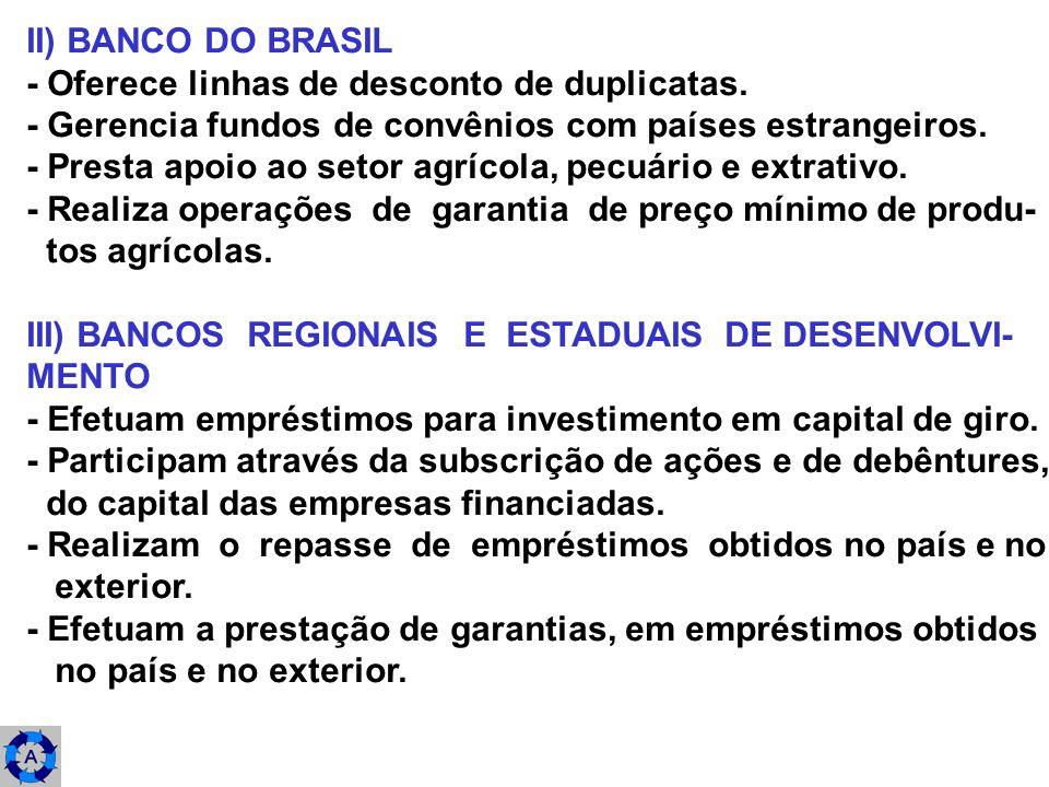 II) BANCO DO BRASIL - Oferece linhas de desconto de duplicatas. - Gerencia fundos de convênios com países estrangeiros.