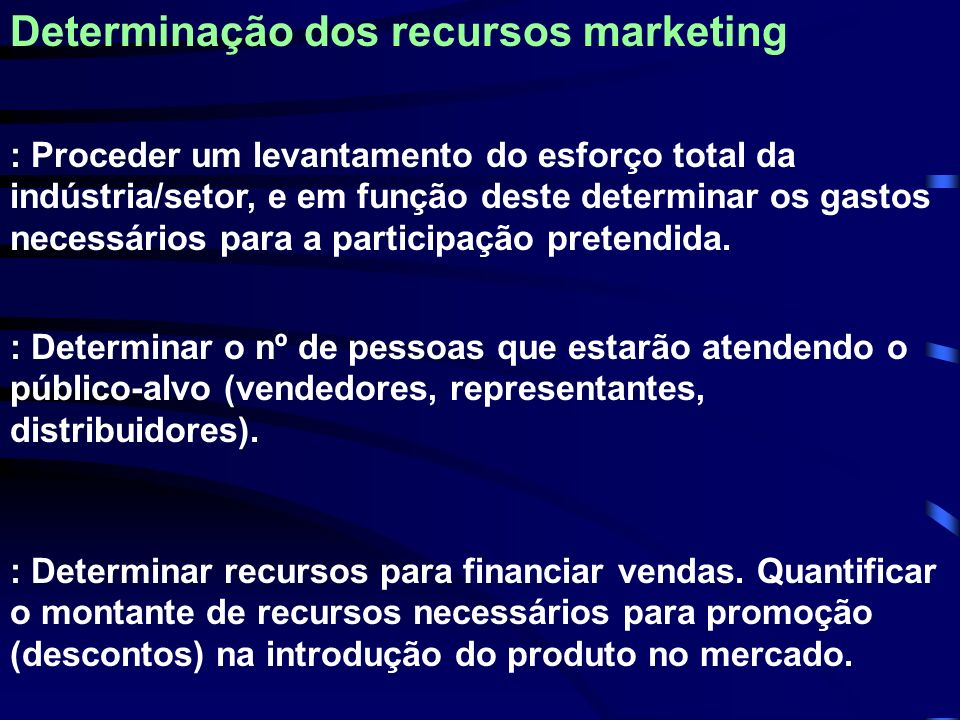 Determinação dos recursos marketing