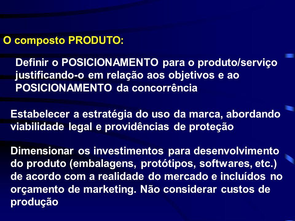 O composto PRODUTO: Definir o POSICIONAMENTO para o produto/serviço justificando-o em relação aos objetivos e ao POSICIONAMENTO da concorrência.