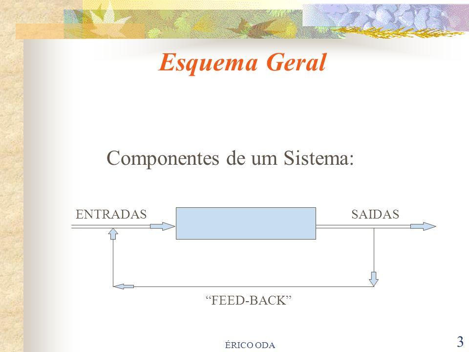 Esquema Geral Componentes de um Sistema: ENTRADAS SAIDAS PROCESSO