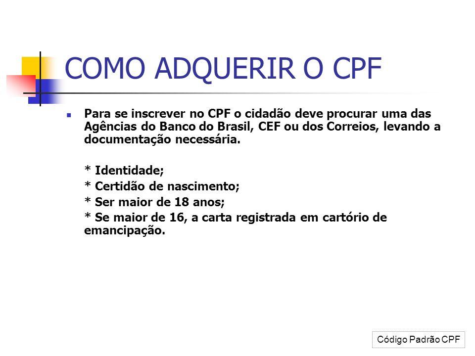 COMO ADQUERIR O CPF