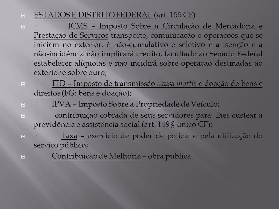ESTADOS E DISTRITO FEDERAL (art. 155 CF)