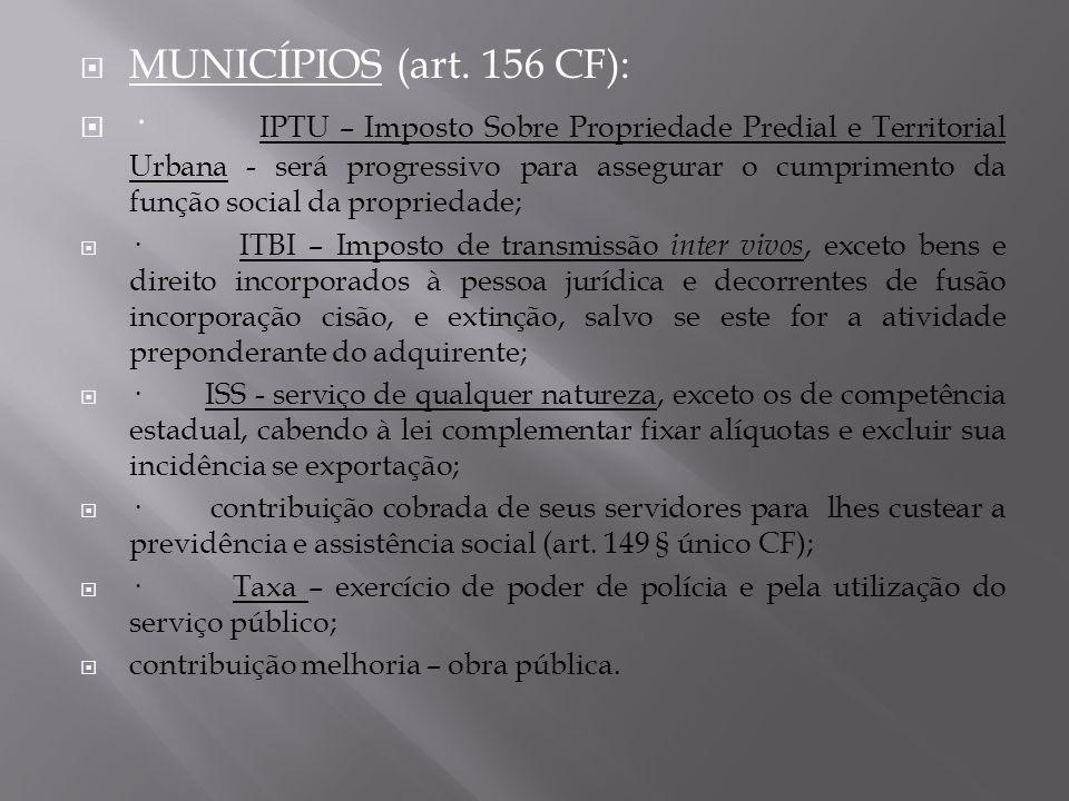 MUNICÍPIOS (art. 156 CF):