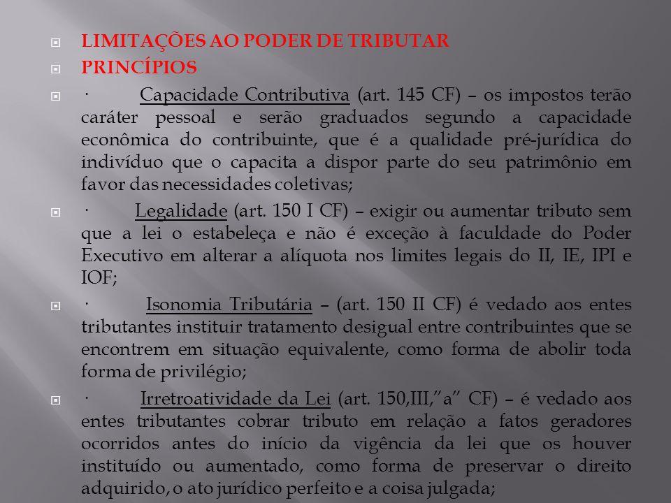 LIMITAÇÕES AO PODER DE TRIBUTAR