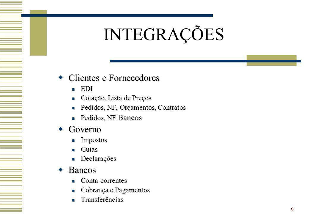 INTEGRAÇÕES Clientes e Fornecedores Governo Bancos EDI