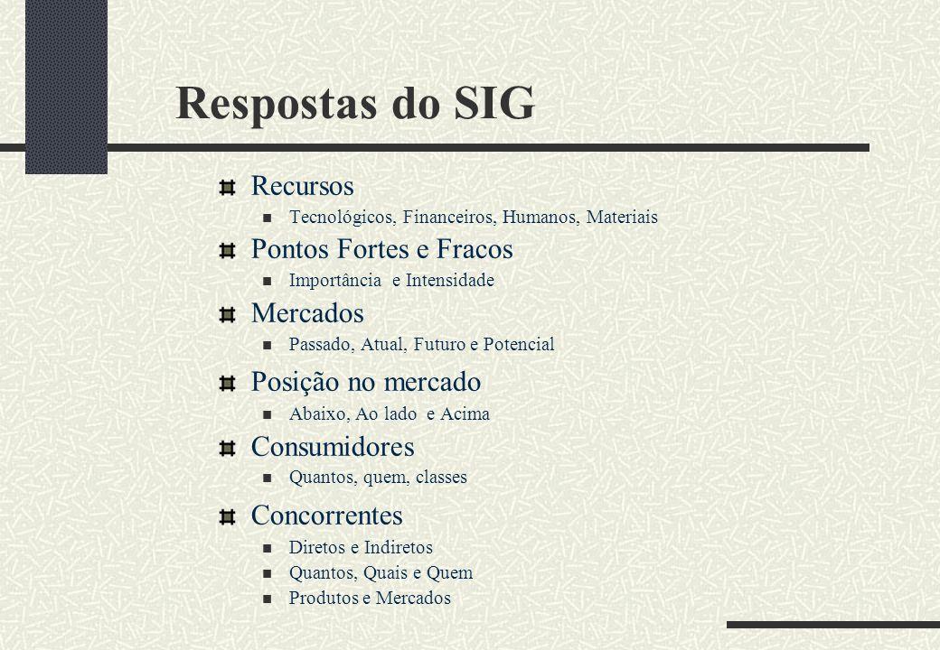 Respostas do SIG Recursos Pontos Fortes e Fracos Mercados