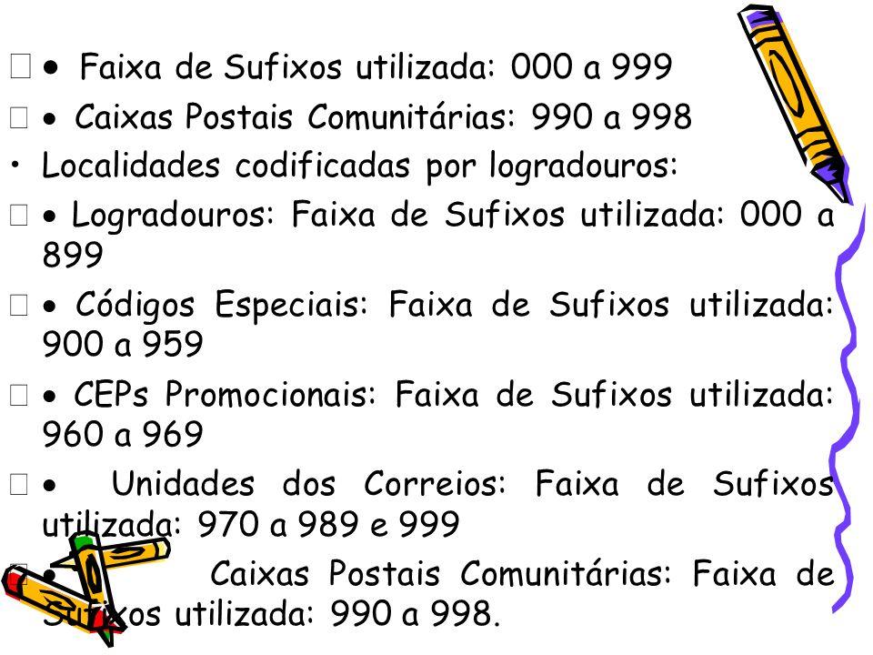 · Faixa de Sufixos utilizada: 000 a 999