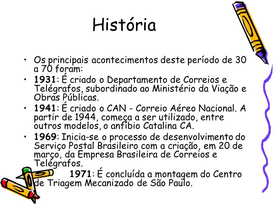 História Os principais acontecimentos deste período de 30 a 70 foram: