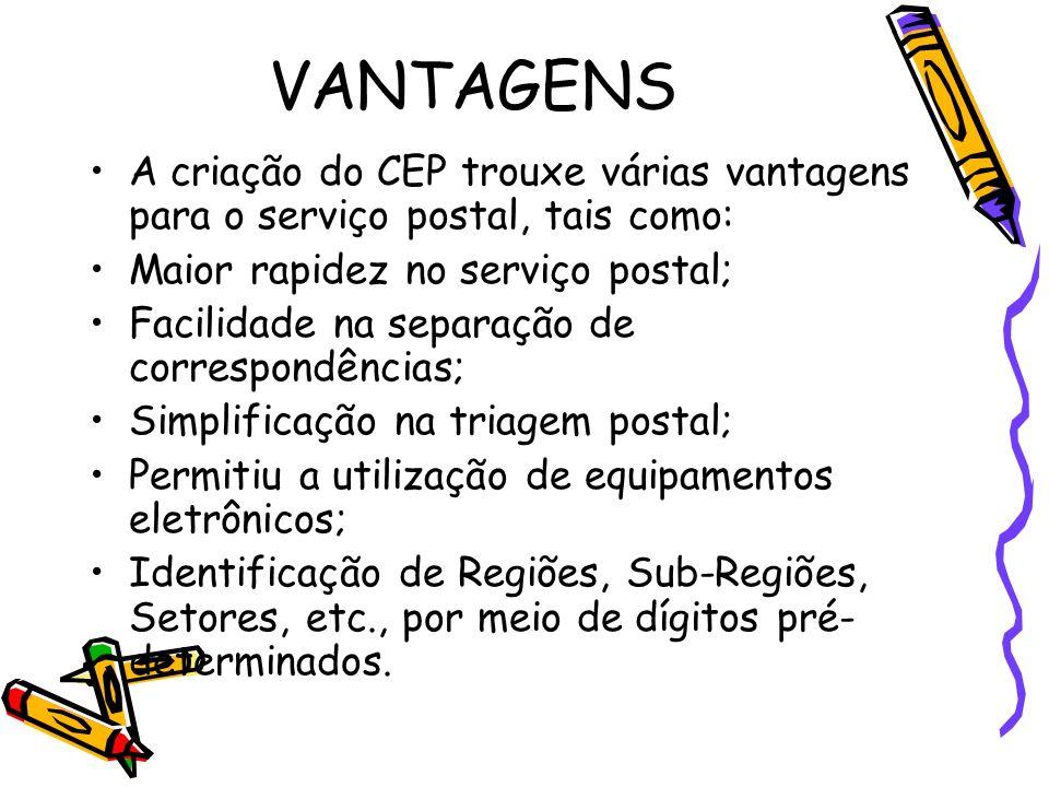 VANTAGENS A criação do CEP trouxe várias vantagens para o serviço postal, tais como: Maior rapidez no serviço postal;