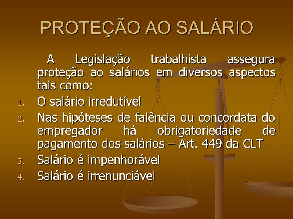 PROTEÇÃO AO SALÁRIO O salário irredutível