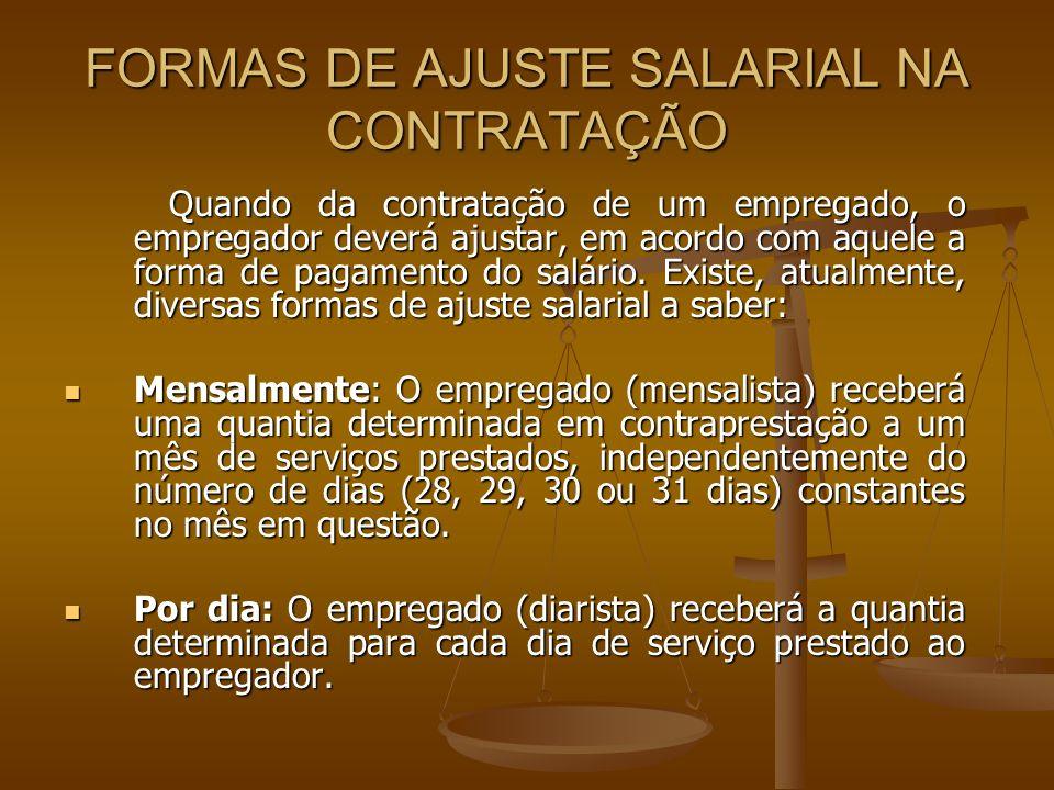 FORMAS DE AJUSTE SALARIAL NA CONTRATAÇÃO