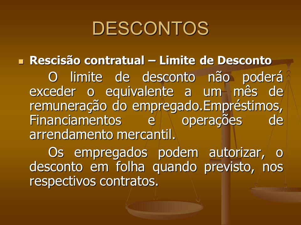 DESCONTOS Rescisão contratual – Limite de Desconto.