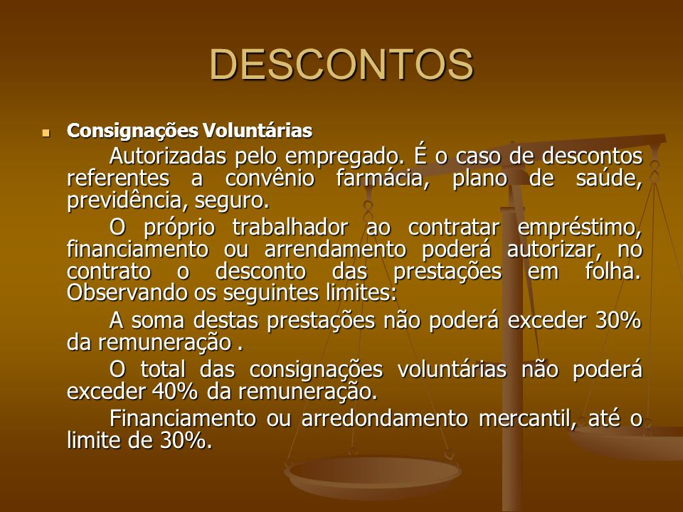 DESCONTOS Consignações Voluntárias.