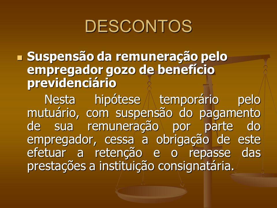 DESCONTOS Suspensão da remuneração pelo empregador gozo de benefício previdenciário.