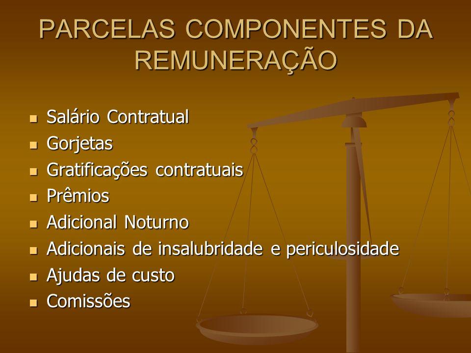 PARCELAS COMPONENTES DA REMUNERAÇÃO