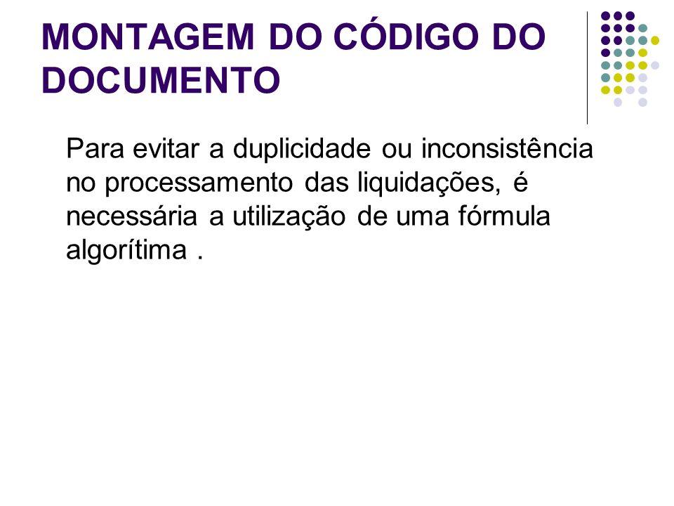 MONTAGEM DO CÓDIGO DO DOCUMENTO