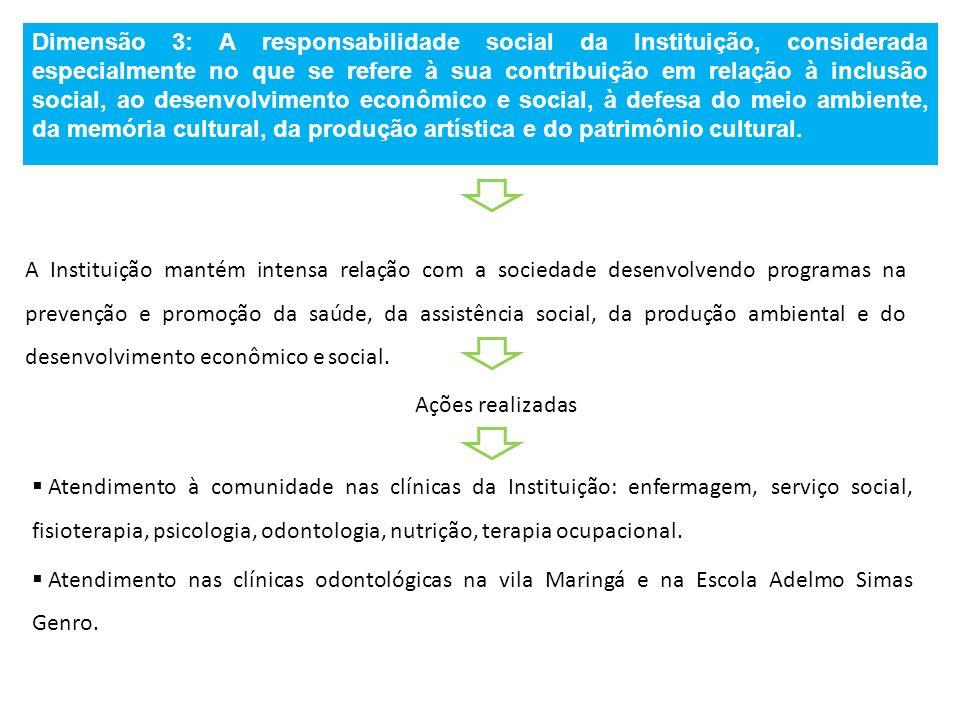 Dimensão 3: A responsabilidade social da Instituição, considerada especialmente no que se refere à sua contribuição em relação à inclusão social, ao desenvolvimento econômico e social, à defesa do meio ambiente, da memória cultural, da produção artística e do patrimônio cultural.