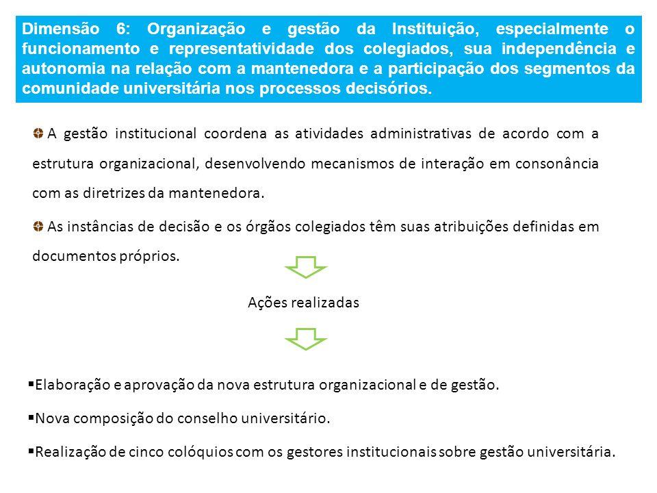 Dimensão 6: Organização e gestão da Instituição, especialmente o funcionamento e representatividade dos colegiados, sua independência e autonomia na relação com a mantenedora e a participação dos segmentos da comunidade universitária nos processos decisórios.
