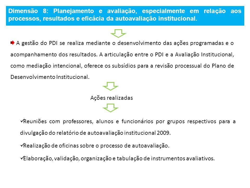 Dimensão 8: Planejamento e avaliação, especialmente em relação aos processos, resultados e eficácia da autoavaliação institucional.