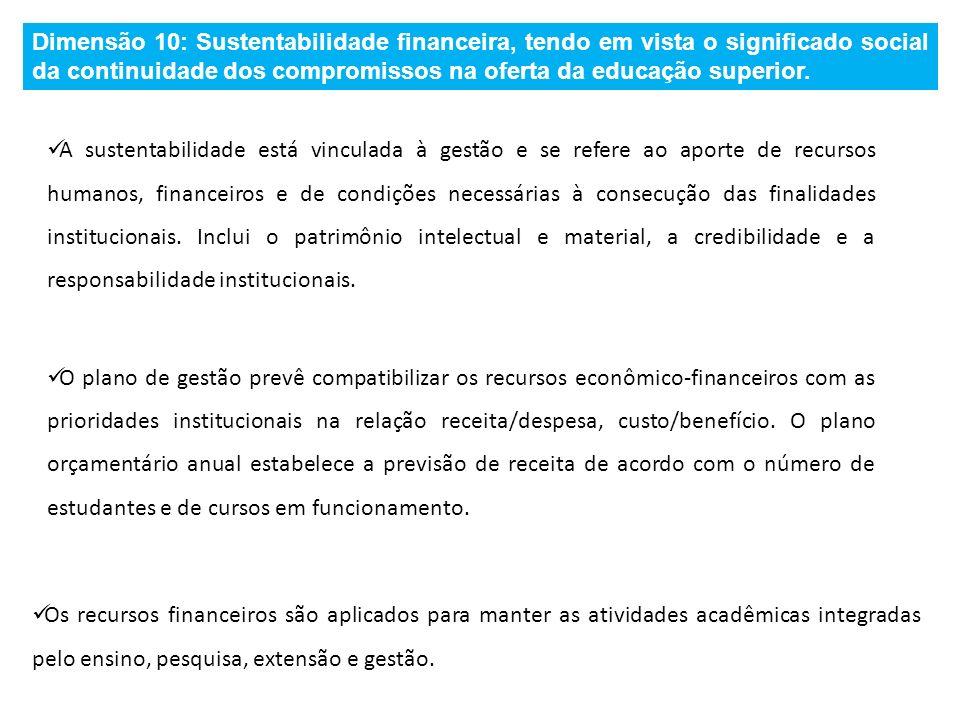 Dimensão 10: Sustentabilidade financeira, tendo em vista o significado social da continuidade dos compromissos na oferta da educação superior.