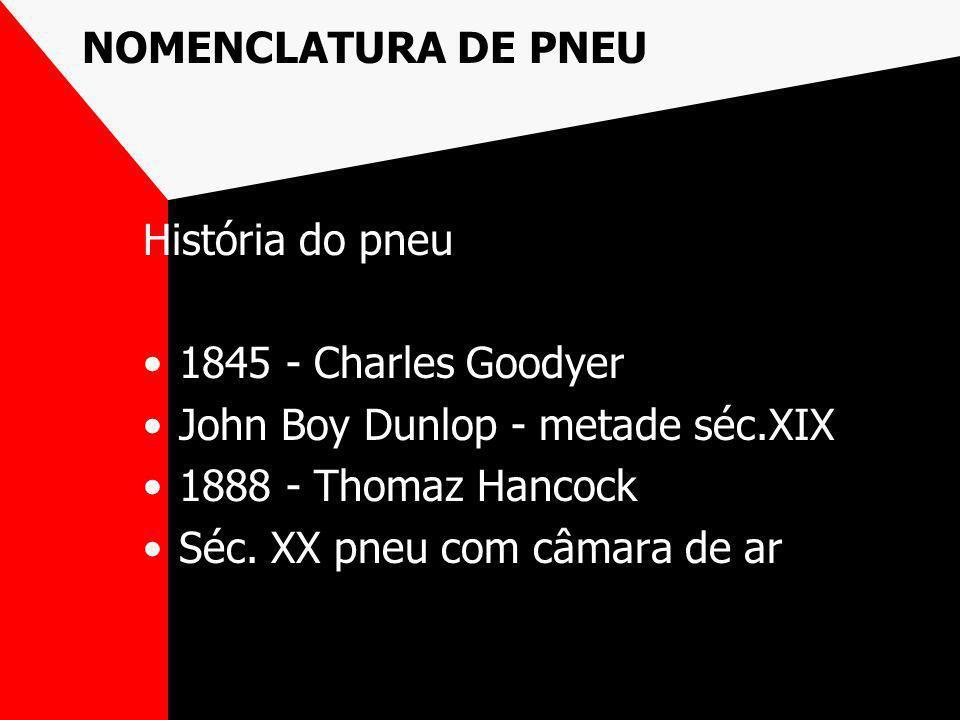 NOMENCLATURA DE PNEU História do pneu. 1845 - Charles Goodyer. John Boy Dunlop - metade séc.XIX. 1888 - Thomaz Hancock.