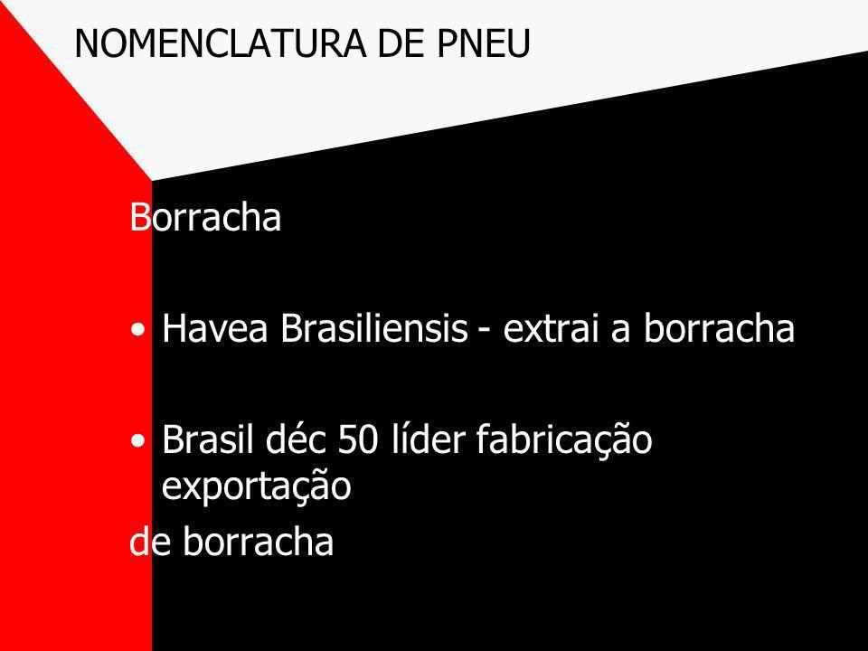 NOMENCLATURA DE PNEUBorracha. Havea Brasiliensis - extrai a borracha. Brasil déc 50 líder fabricação exportação.