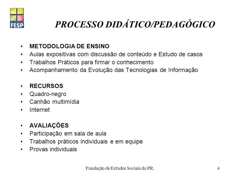 PROCESSO DIDÁTICO/PEDAGÓGICO