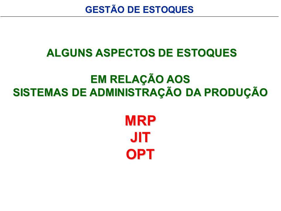 ALGUNS ASPECTOS DE ESTOQUES SISTEMAS DE ADMINISTRAÇÃO DA PRODUÇÃO