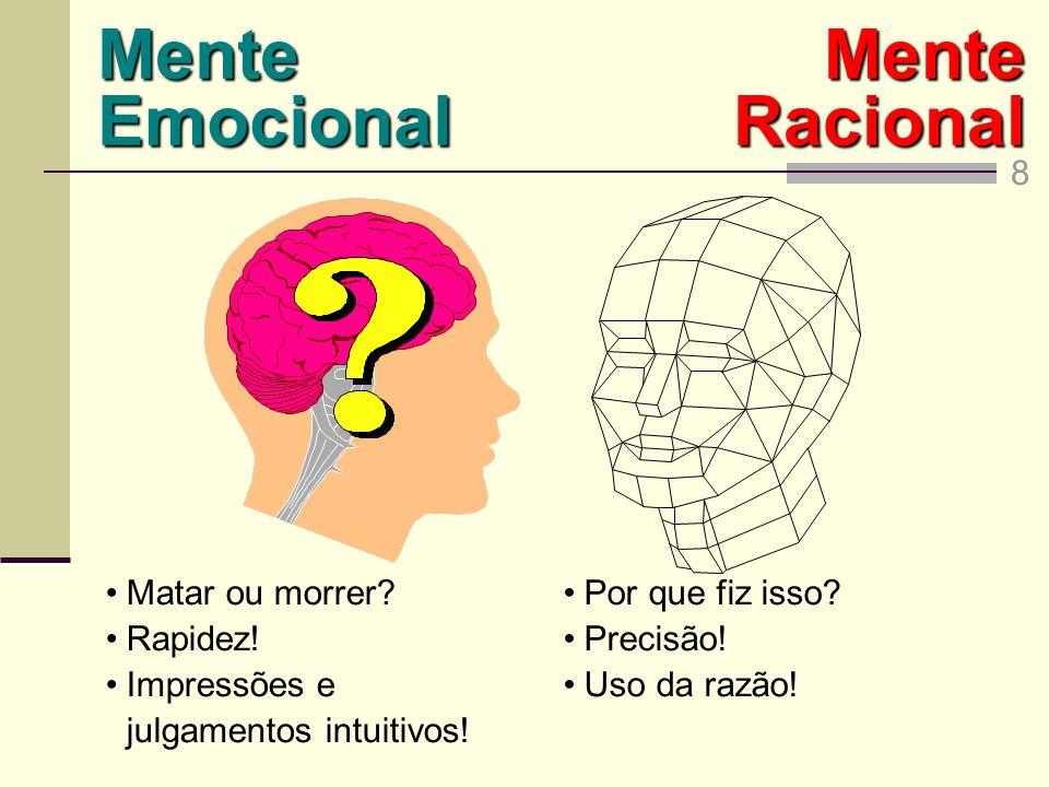 Mente Emocional Mente Racional 8 Matar ou morrer Rapidez!