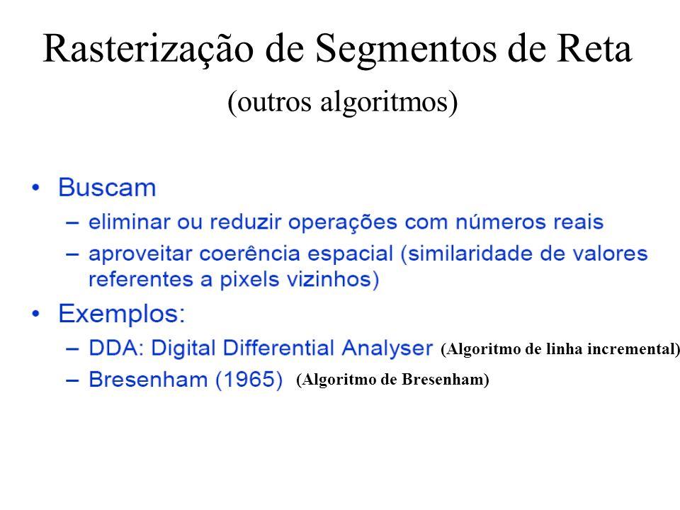 Rasterização de Segmentos de Reta (outros algoritmos)