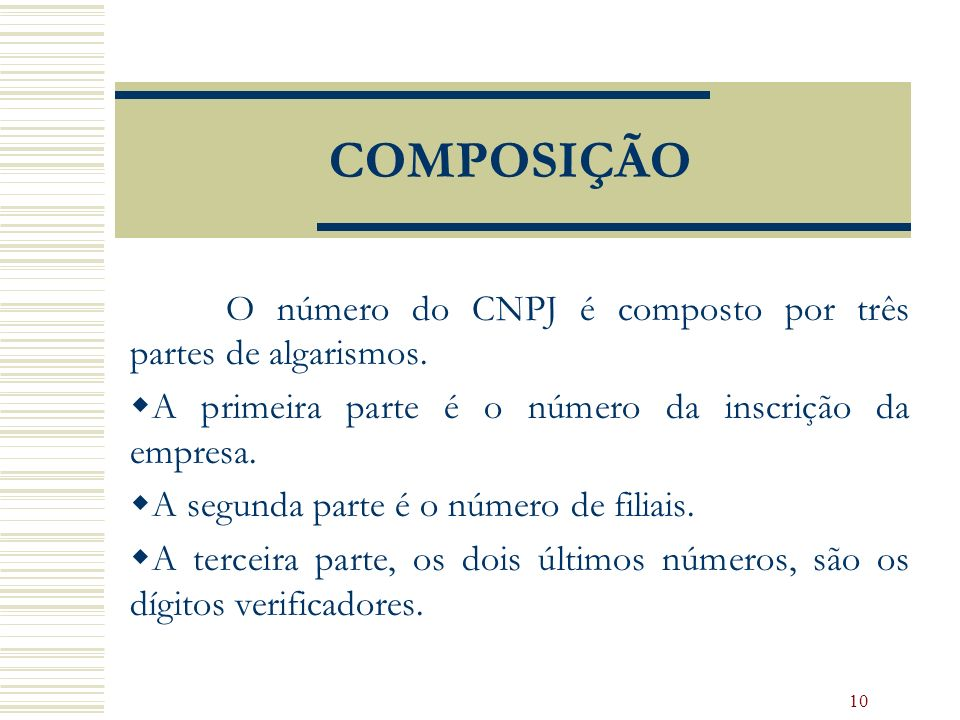 COMPOSIÇÃO O número do CNPJ é composto por três partes de algarismos.