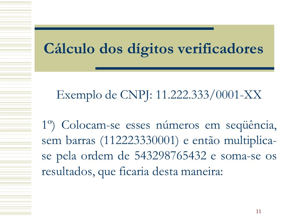 Cálculo dos dígitos verificadores